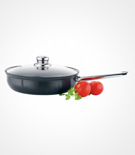 Premier Non-Stick Trendy Black Chef Pan With Glass Lid