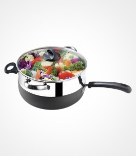 Premier Trendyblack Chefpan with Glass Lid and SS Steamer