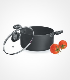 Premier Non-Stick Trendy Black StewPan With Glass Lid 20 CM