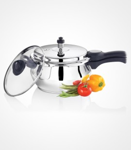 Stainless Steel Handi IB Pressure Cookware with Glass Lid