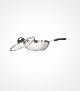 PREMIER STAINLESS STEEL SANDWICH BOTTOM KADAI WITH GLASS LID 22 CM