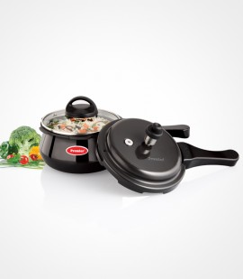 1.5 Litre Premier Cucina Trendy Black Induction Bottom Handi Pressure Cooker With Glass Lid