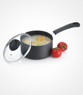 Premier Non-Stick Trendy Black Sauce Pan With Glass Lid 16 CM