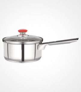 Stainless steel saucepan with glass lid